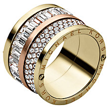 Buy Michael Kors Pave Barrel Mixed Crystal Ring, Yellow / Rose Gold Online at johnlewis.com