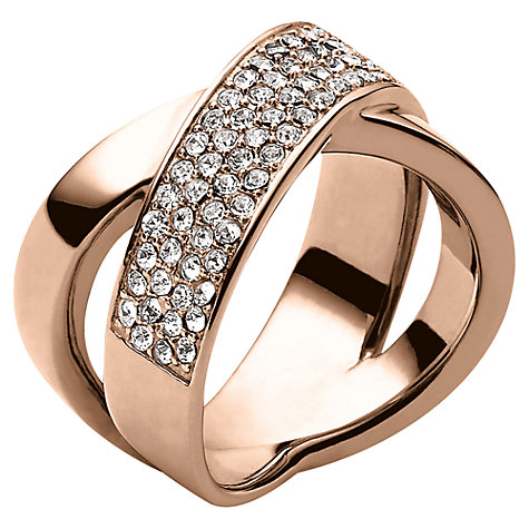 Buy Michael Kors Pave Crystal Crossover Ring, Rose Gold Online at johnlewis.com