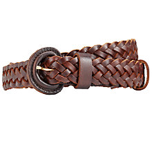 Buy John Lewis Medium Leather Plaited Belt, Brown Online at johnlewis.com