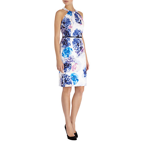 Buy Coast Macino Floral Print Dress, White/Blue Online at johnlewis.com