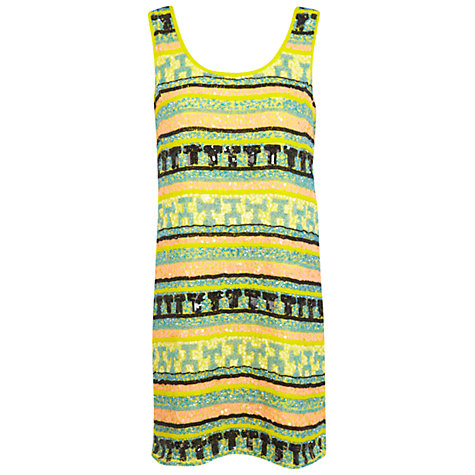 Buy Miss Selfridge Embellished Dress, Yellow Online at johnlewis.com