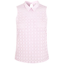 Buy Miss Selfridge Broderie Collar Top, Lilac Online at johnlewis.com