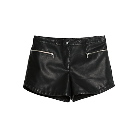 Buy Mango Faux Leather Shorts, Black Online at johnlewis.com
