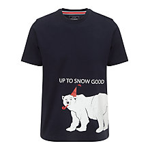 Buy John Lewis Up To Snow Good Organic Cotton T-Shirt, Navy Online at johnlewis.com