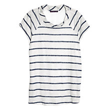 Buy Violeta by Mango Striped Linen-Blend T-Shirt, Bright Blue Online at johnlewis.com