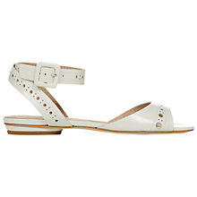 Buy Hobbs Flora Flat Leather Sandals, Ice White Online at johnlewis.com
