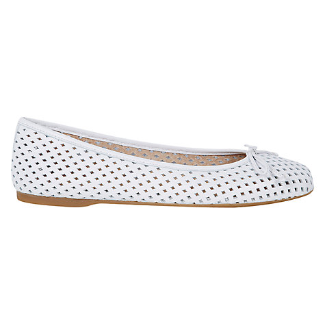 Buy Hobbs Dover Leather  Ballerina Pumps, White Online at johnlewis.com