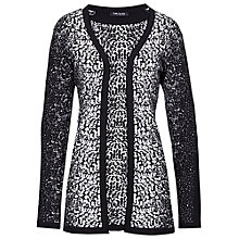 Buy Betty Barclay Long Jacquard Cardigan, Black/Cream Online at johnlewis.com