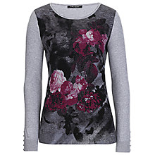 Buy Betty Barclay Rose Print Jumper, Grey/Dark Pink Online at johnlewis.com