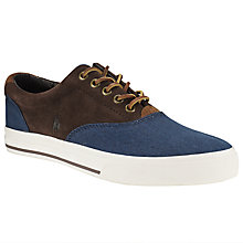 Buy Polo Ralph Lauren Vaughn Suede and Denim Trainers, Newport Navy/Mohican Brown Online at johnlewis.com