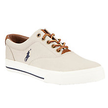 Buy Polo Ralph Lauren Vaughn Canvas and Suede Trainers, Stone Online at johnlewis.com