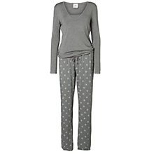 Buy Mamalicious Miranda Leaf Print Maternity Pyjamas, Grey Online at johnlewis.com