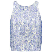 Buy Whistles Lace Textured Crop Top, Blue Online at johnlewis.com