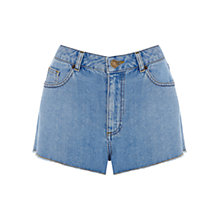 Buy Warehouse Frayed High Waist Shorts, Bright Blue Online at johnlewis.com