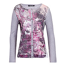 Buy Betty Barclay Plain Fine Knit Cardigan, Grey/Dark Pink Online at johnlewis.com