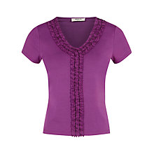 Buy Precis Petite Ruffle Front Top, Berry Online at johnlewis.com