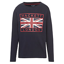 Buy Hackett London Boys' Union Jack Long Sleeve T-Shirt, Navy Online at johnlewis.com