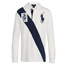 Buy Polo Ralph Lauren Banner Stripe Rugby Polo Shirt, White/Navy Online at johnlewis.com