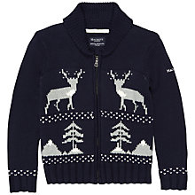Buy Hackett London Boys' Deer Fair Isle Zip Cardigan, Navy Online at johnlewis.com