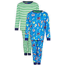 Buy John Lewis Boy Music Print Pyjamas, Pack of 2, Blue/Multi Online at johnlewis.com