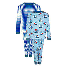 Buy John Lewis Boy Pirate Ship Pyjamas, Pack of 2, Blue/Multi Online at johnlewis.com