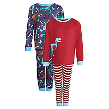 Buy John Lewis Boy Dino Print Pyjamas, Pack of 2, Navy/Red Online at johnlewis.com