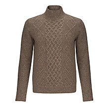 Buy Aigle Lamington Cable Knit Jumper, Brown Online at johnlewis.com