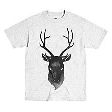 Buy Secret Store Stag Print T-Shirt, Light Grey Online at johnlewis.com