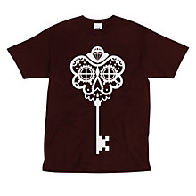 Buy SCRT Skeleton Key Print T-Shirt, Burgundy Online at johnlewis.com