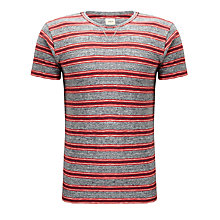 Buy Bellerose Sport City Heavy Cotton Slub Striped T-Shirt, Grey / Red Online at johnlewis.com