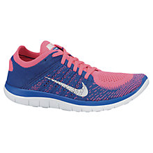 Buy Nike Women's Free 4.0 Flyknit Running Shoes, Blue/Pink Online at johnlewis.com