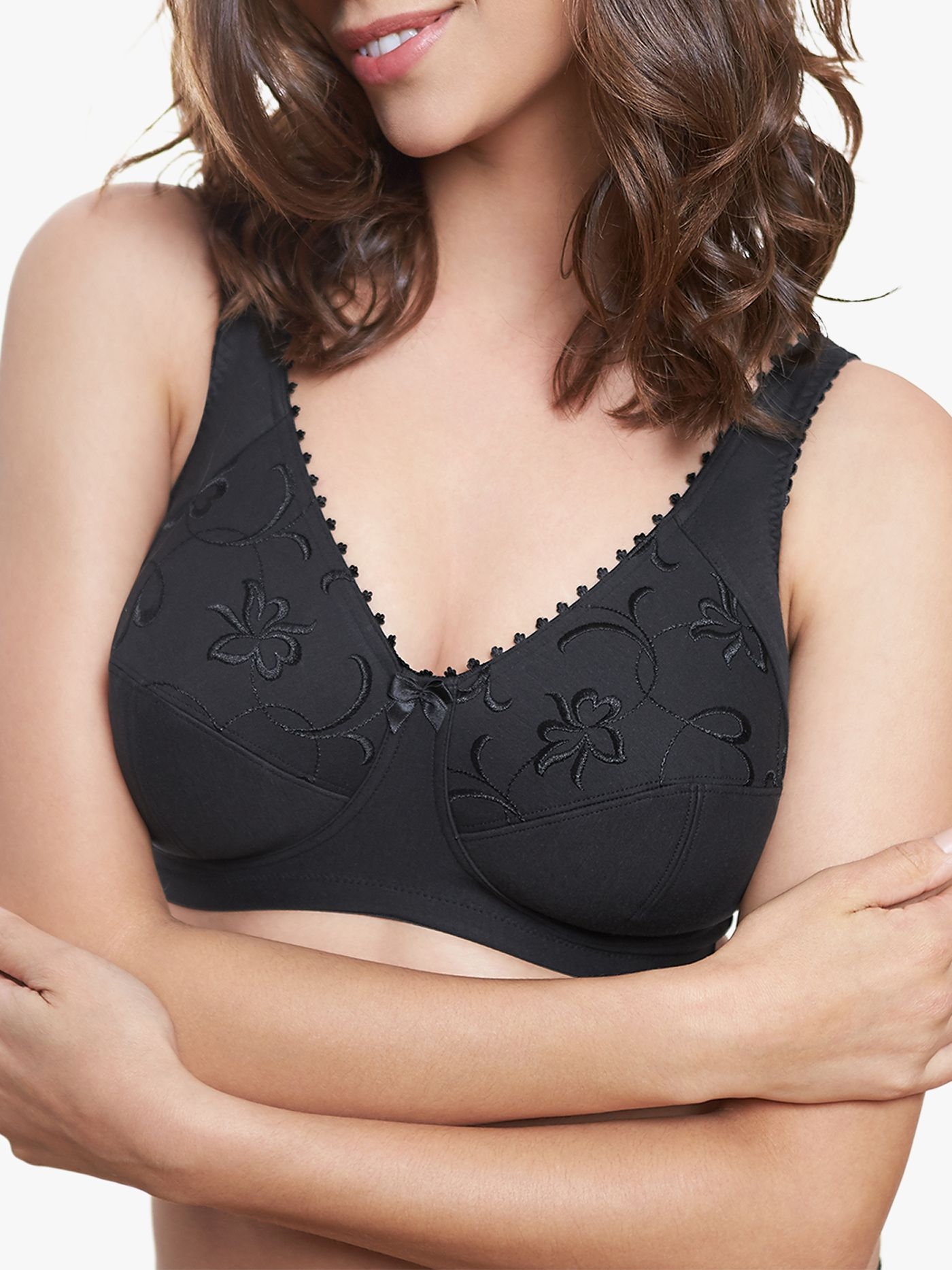 Royce Grace 513 Cotton Rich Non-Wired Bra, Black