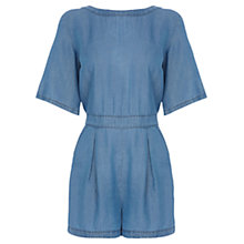 Buy Warehouse Denim T-Shirt Playsuit, Mid Wash Denim Online at johnlewis.com
