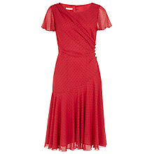 Buy Jacques Vert Chiffon Spot Dress, Red Online at johnlewis.com