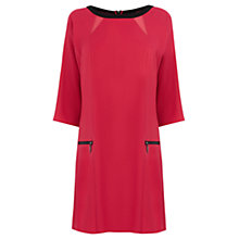 Buy Warehouse Panelled Zip Detail Dress, Bright Pink Online at johnlewis.com