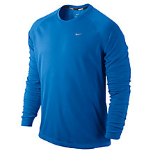 Buy Nike Miler Long Sleeve Top, Blue Online at johnlewis.com