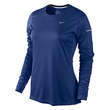 Buy Nike Women's Miler Crew Neck Long Sleeve Top, Blue Online at johnlewis.com