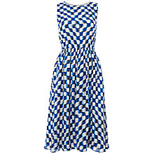 Buy Jaeger Silk Blurred Square Dress, White/Blue Online at johnlewis.com