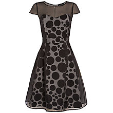 Buy Jaeger Ariagated Spot Silk Organza Dress, Black / White Online at johnlewis.com
