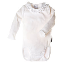 Buy Polarn O. Pyret Baby Frill Neck Organic Cotton Bodysuit, White Online at johnlewis.com