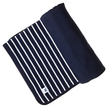 Buy Polarn O. Pyret Striped Pram Blanket, Navy/White Online at johnlewis.com
