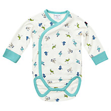 Buy Polarn O. Pyret Baby's Animal Bodysuit, White/Blue Online at johnlewis.com