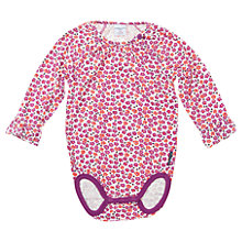 Buy Polarn O. Pyret Baby's Floral Bodysuit, Pink/White Online at johnlewis.com