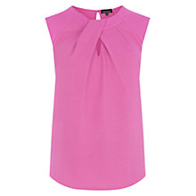 Buy Warehouse Jacquard Notch Neck Top, Bright Pink Online at johnlewis.com