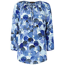 Buy Jaeger Smudge Spot Print Silk Kaftan, Blue Online at johnlewis.com