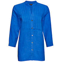 Buy Jaeger Linen Pintuck Blouse, Cobalt Online at johnlewis.com