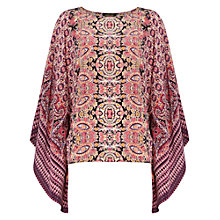 Buy Jaeger Placement Print Silk Kaftan, Pink Online at johnlewis.com