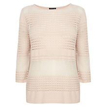 Buy Warehouse Mesh and Pointelle Jumper, Light Pink Online at johnlewis.com
