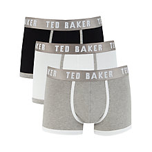 Buy Ted Baker Guava Plain Trunks, Pack of 3, Black/White/Grey Online at johnlewis.com