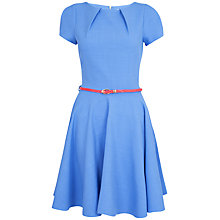 Buy Closet Cap Sleeve Flared Belted Dress, Blue Online at johnlewis.com